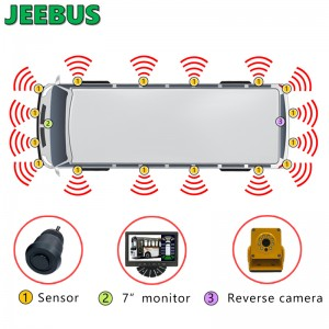 Vehicle Coach Bus Parking Radar Sensor Monitor System HD 1080P Reverse Camera with 16 Sensors Detection Blind Spot Vision Digital Warning Monitoring